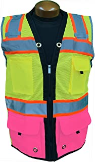 SHINE BRIGHT SV544PK   Premium Surveyor's High Visibility Safety Vest   2 Tone Lime / Pink with Reflective Strips  ANSI CLASS 2  Soft and Breathable  Heavy Duty Zipper Front   Size XS