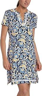 Nautica Women's Large Floral Print Short Sleeve Supima Knit Tunic Sleep Shirt