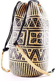 Seven Island Handwoven Round Rattan Bag Shoulder Leather Straps Natural Bamboo Bag Straw Beach Bag Premium Quality 100% Hand Woven Clutch Wicker Purse Handbag (Straw Backpack)