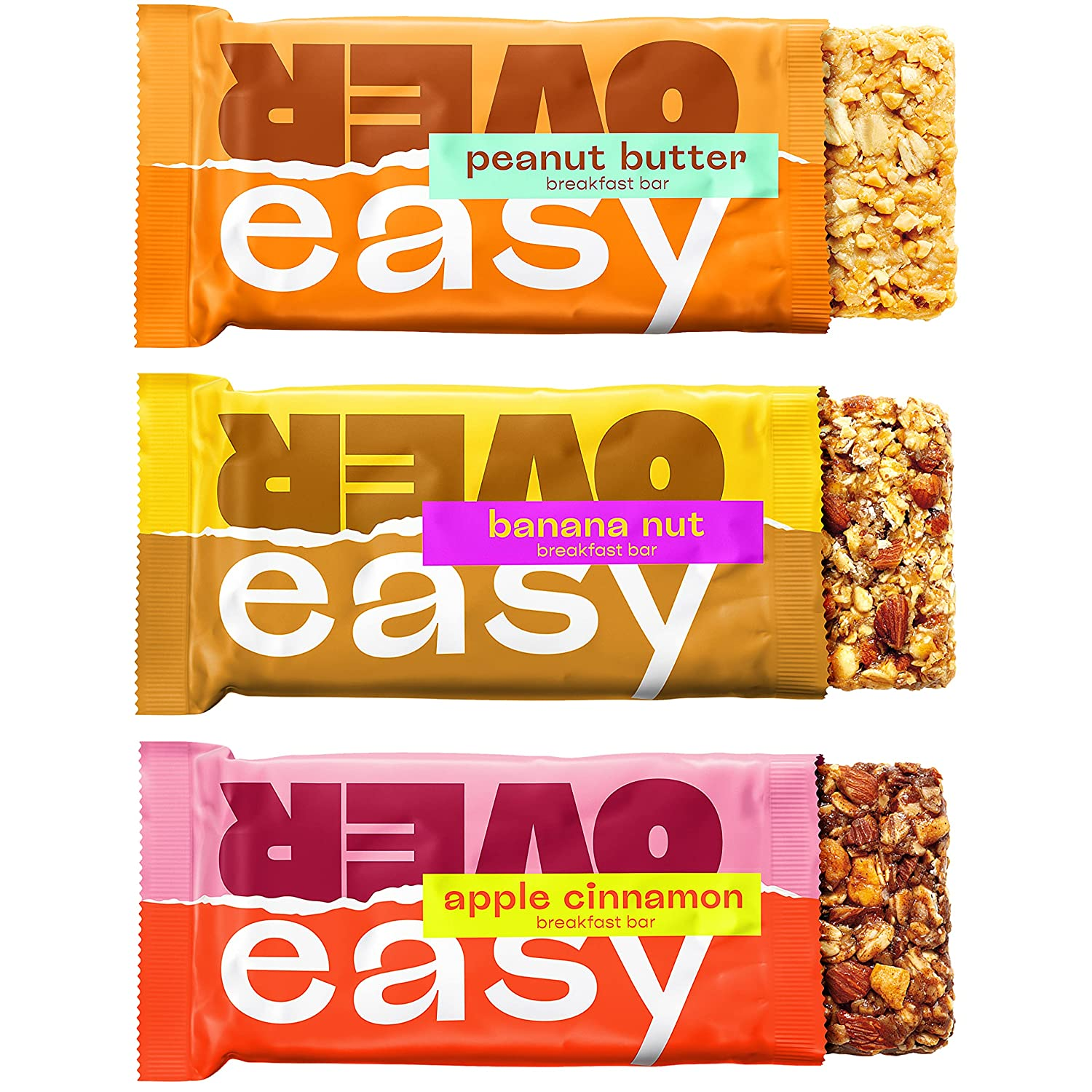 OVER EASY Breakfast Bars | All Natural, Clean Ingredient, 9-10g Protein & 6-7g Fiber Breakfast Bars | Gluten Free, Dairy Free (Trial Pack (Variety), 3 Count (Pack of 1))