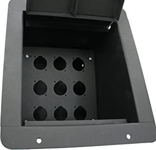 Recessed floor box with blank plate: 9 space