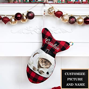 BHD BEAUTY Personalized Cat Christmas Stocking Picture Customized Glitter Name Holiday Decorations 16 inches