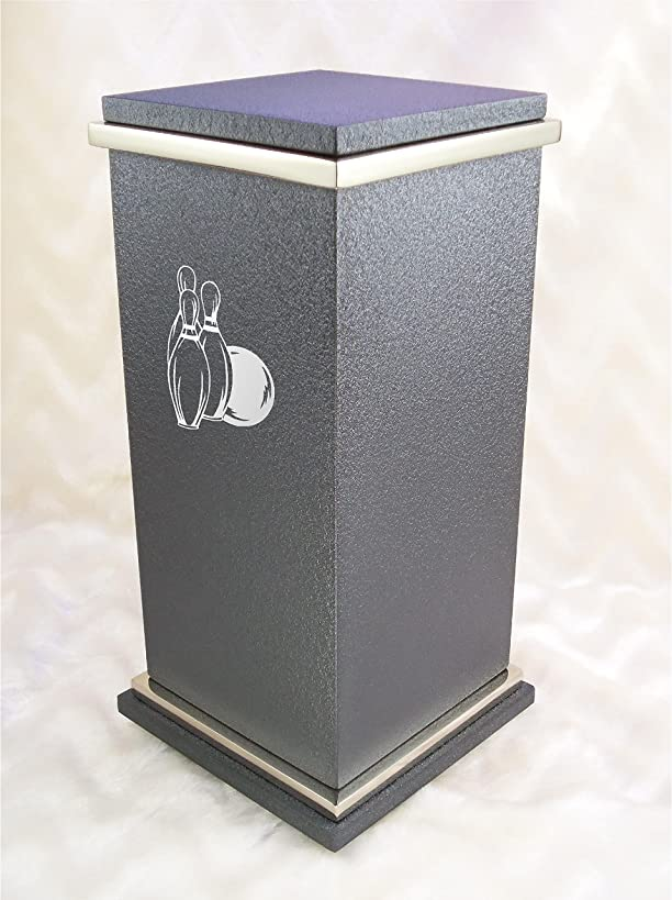 PERSONALIZED Custom Engraved Bowling Cremation Urn Vault by Amaranthine Urns, made in the USA, Peyton RG Painted Silver (up to 250 lbs living weight) (Slate Grey)