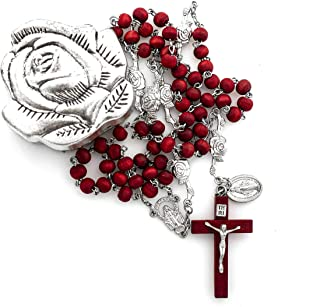 Elysian Gift Shop Catholic Rose Petal Red Rosary Necklace with Rose Bud Silver Metal Rosary Box Rose Scented 6mm Red Wood Rosary Beads and Crucifix with Oxidized Silver Metal Rose Case