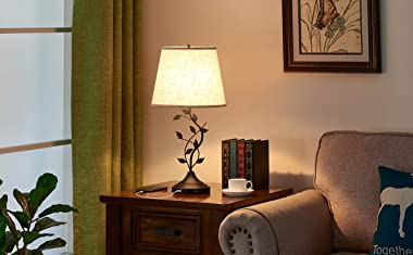USB Table Lamp Bedside Lamp with Dual USB Charging Ports, Kakanuo 26'' Traditional Nightstand Lamp Desk Lamp Large Re