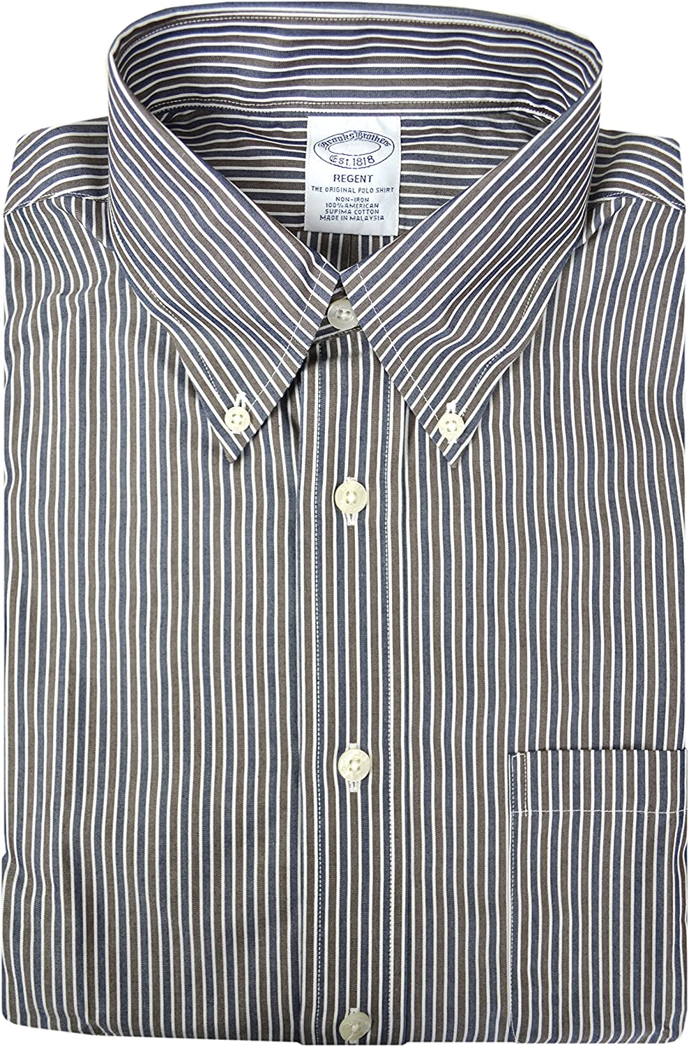 Brooks Brothers Men's Regent Fit Soft Knit Cotton Non Iron Pocketed Dress Shirt Mixed Striped
