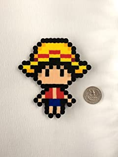 Gear 5th One Piece Anime Magnet: Large Straw Hat Luffy Pre-Time Skip Handmade Perler Bead Magnet