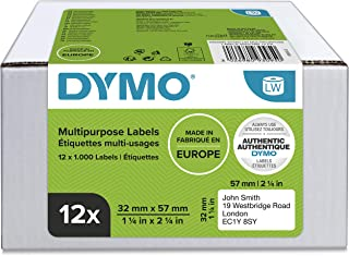 DYMO Authentic LW Multi-Purpose Labels, 32mm x 57mm, 12 Rolls of 1, 000 Easy-Peel Labels (12, 000 Count), Self-Adhesive, f...