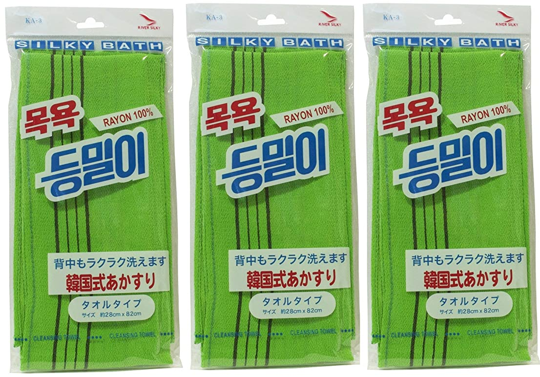 怒る洞察力鰐韓国発 韓国式あかすり タオルタイプ(KA-3)グリーン×3個セット