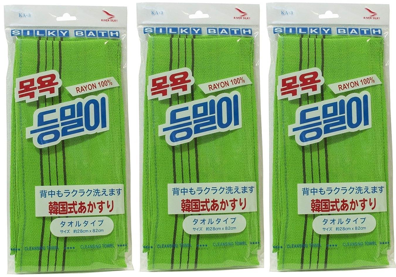 噛む接続規則性韓国発 韓国式あかすり タオルタイプ(KA-3)グリーン×3個セット