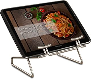 Takyl Home Tablet Holder & Cookbook Stand for Display & Storage to Prop & Store Cookbooks, Textbooks, eReaders, Tablets, iPads & Recipe Books, Satin Nickel