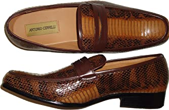 Antonio Cerrelli 6494 Mens Rich Brown Snake Pattern Dress Loafers Shoes