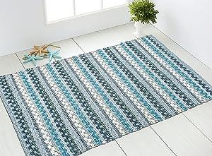 CHARDIN HOME Handwoven Boho Rug   Aqua Blue Rug for Bathroom, Kitchen, entryway, Bedroom & More   27x45 Rug with Non-Slip Latex Spray.