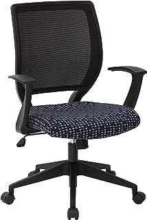 كرسي مهام المكتب الخلفي من Office Star EM مزود بدعم قطني وذراع مصمم على شكل حرف T، نسيج انديجو رقيق