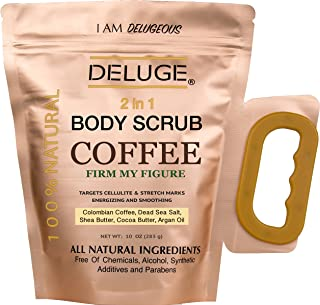 DELUGE - Organic Coffee Body Scrub, Firms and Tones Skin, Reduces the Appearance of Cellulite. Acne, Stretch Marks, Spider Veins, Eczema. Two in One- Exfoliator and Ultra Moisturizer 10 Oz