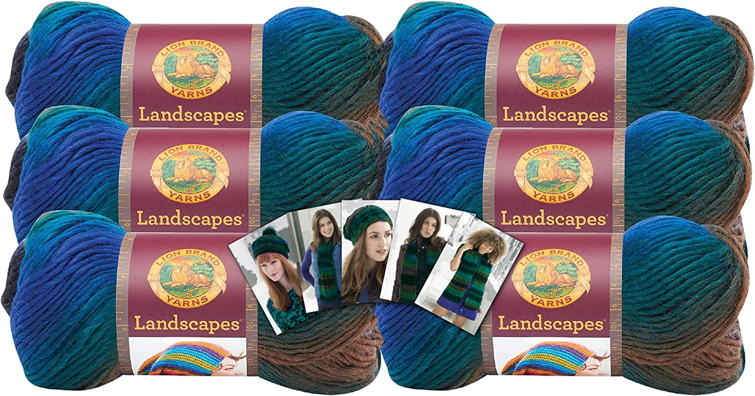 Lion Brand Landscapes Popular product Yarn - Max 78% OFF 6 Pack Color Cards Pattern with in