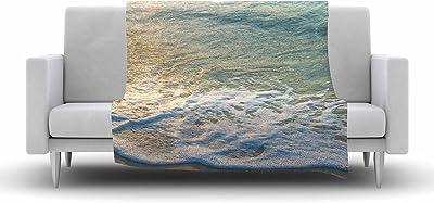 Kess InHouse Susan Sanders Ivory Ocean Beach Coral Beige White Photography Throw 80 x 60 Fleece Blanket