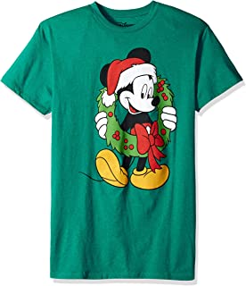 Men's Mickey Mouse Christmas Wreath T Shirt