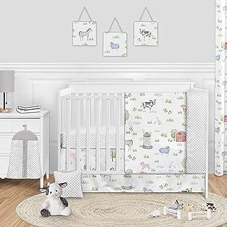 Sweet Jojo Designs Farm Animals Baby Boy or Girl Nursery Crib Bedding Set - 11 Pieces - Watercolor Farmhouse Lattice Horse...