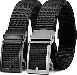 Chaoren Nylon Ratchet Belt 2 Pack, Mens Casual Belt for Golf Fully Adjustable Trim to Exact Fit - - X-Large