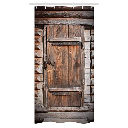 Ambesonne Vintage Stall Shower Curtain Rustic Wooden Door Of Old Barn In Farmhouse Countryside Village