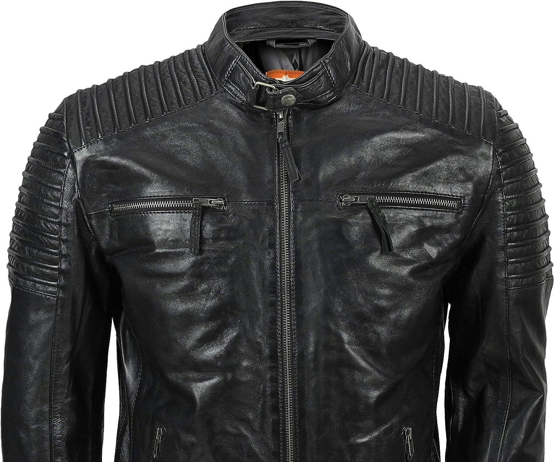 Moto Leather Jacket Men, Genuine Lambskin Leather Jacket, Café Racer Biker Style