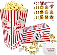 Popcorn Boxes Red and White | 32 Striped Retro Design, Bottom Insert Card helps prevent leaks | BONUS - Emoji Stickers, Movie Nights, Birthdays, Schools, Carnival, Circus, Party Supplies Decorations