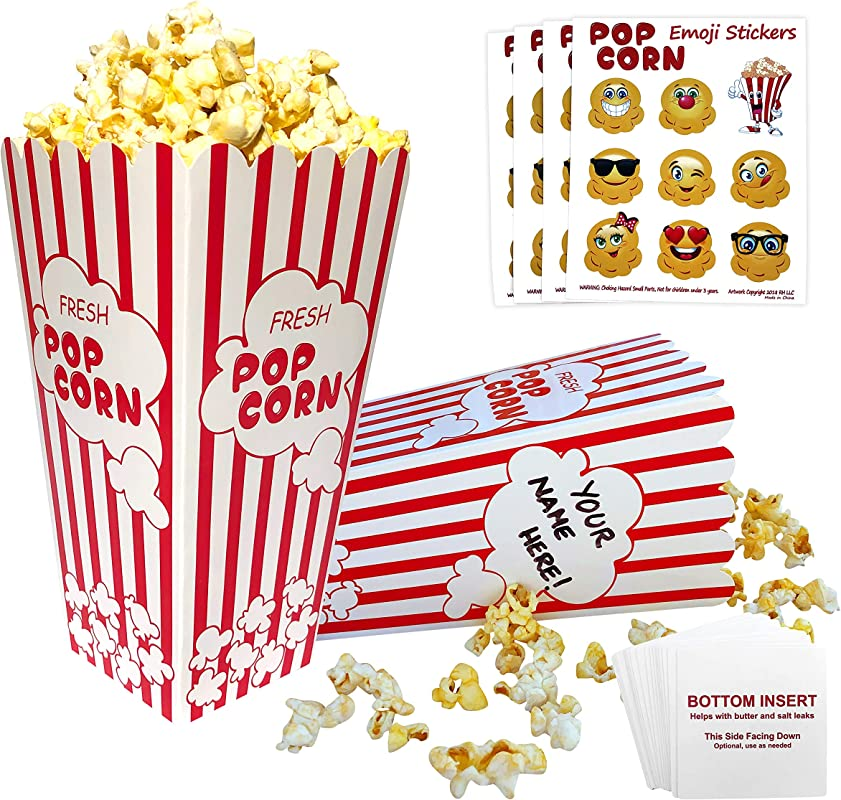 Popcorn Boxes Red And White 32 Striped Retro Design Bottom Insert Card Helps Prevent Leaks BONUS Emoji Stickers Movie Nights Birthdays Schools Carnival Circus Party Supplies Decorations