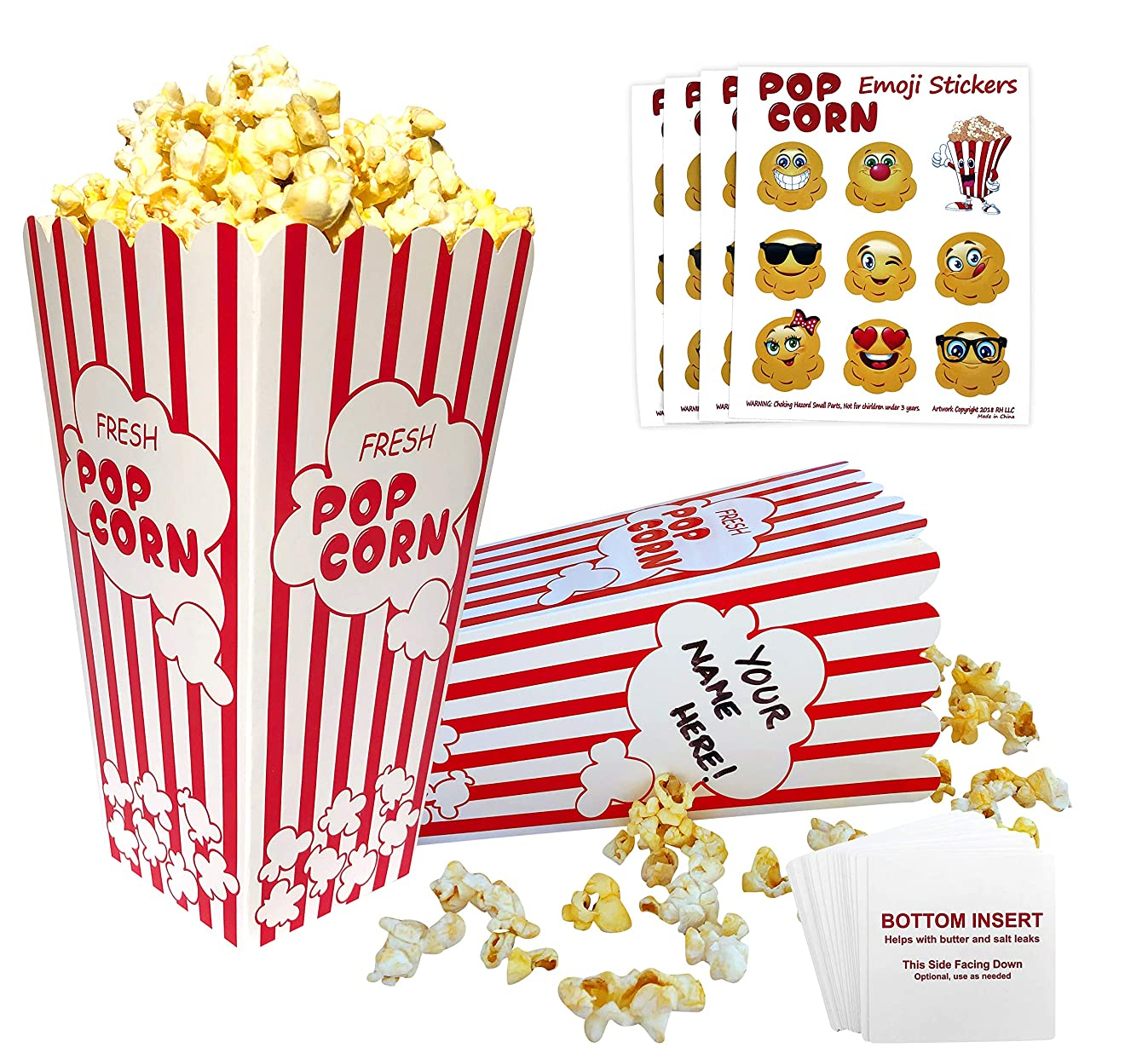 Popcorn Boxes Red and White   32 Striped Retro Design, Bottom Insert Card helps prevent leaks   BONUS - Emoji Stickers, Movie Nights, Birthdays, Schools, Carnival, Circus, Party Supplies Decorations