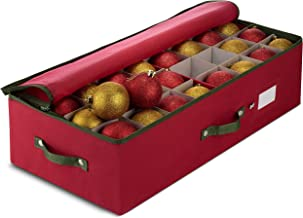 ZOBER Underbed Christmas Ornament Storage Box Zippered Closure - Stores up to 64 of The 3-inch Standard Christmas Ornaments, and Xmas Holiday Accessories Storage Container with Dividers & Two Handles