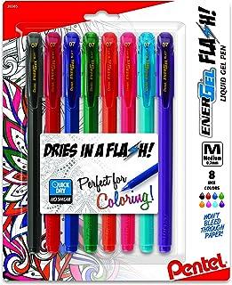 Pentel EnerGel FLASH! Liquid Gel Stick Pen, (0.7mm) Medium Line, Metal Tip,Assorted Ink, 8-Pk (BL417BP8M)