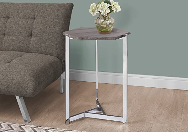 Monarch Specialties I 3276 Hexagon Dark Taupe Chrome Metal Accent Table 24 00 X 18 00 X 21 00