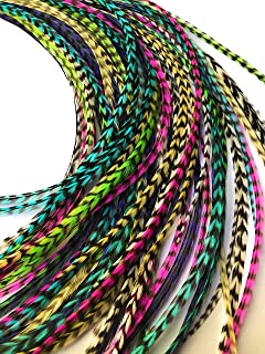 Hair Feathers Kit, 20 Long Feather Extensions with beads and loop tool, 100% Real Grizzly Rooster Feather Accessories, Bright Colors, ALL GRIZZ