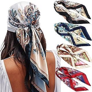 35 بوصة ساتان كبير مربع الرأس الأوشحة - 4 قطع الحرير مثل الرقبة وشاح الشعر النوم التفاف خفيف الوزن الحرير والأوشحة للنساء