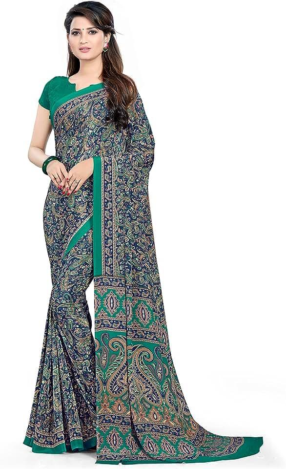 Indian Vimla * Women's Multi Crape Silk Uniform Saree with Blouse Piece (6247_Multicolor) Saree