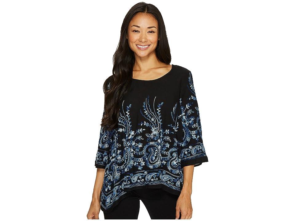 Karen Kane Embroidered 3/4 Sleeve Top (Blue) Women