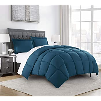 Chezmoi Collection 3-Piece Down Alternative Comforter Set (Queen, Teal)