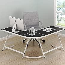 SHW Vista Corner L Desk - White with Black Glass