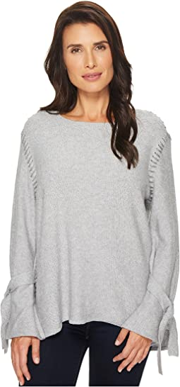 TWO by Vince Camuto - Long Sleeve Flutter Tie Cuff Side Stitched Sweater