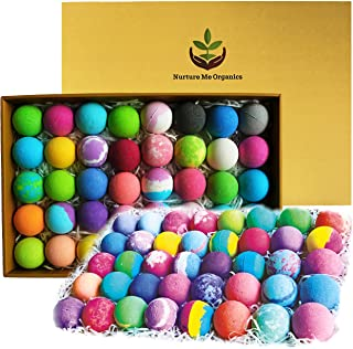 Natural Bath Bombs Gift Set - 40 Large Nurture Me Organic Bath Bombs for Women Men & Kids! Infused with Essential Oils! Bulk Individually Wrapped Bath Bomb Set. 40 Unique Aromatherapy Spa Bombs!