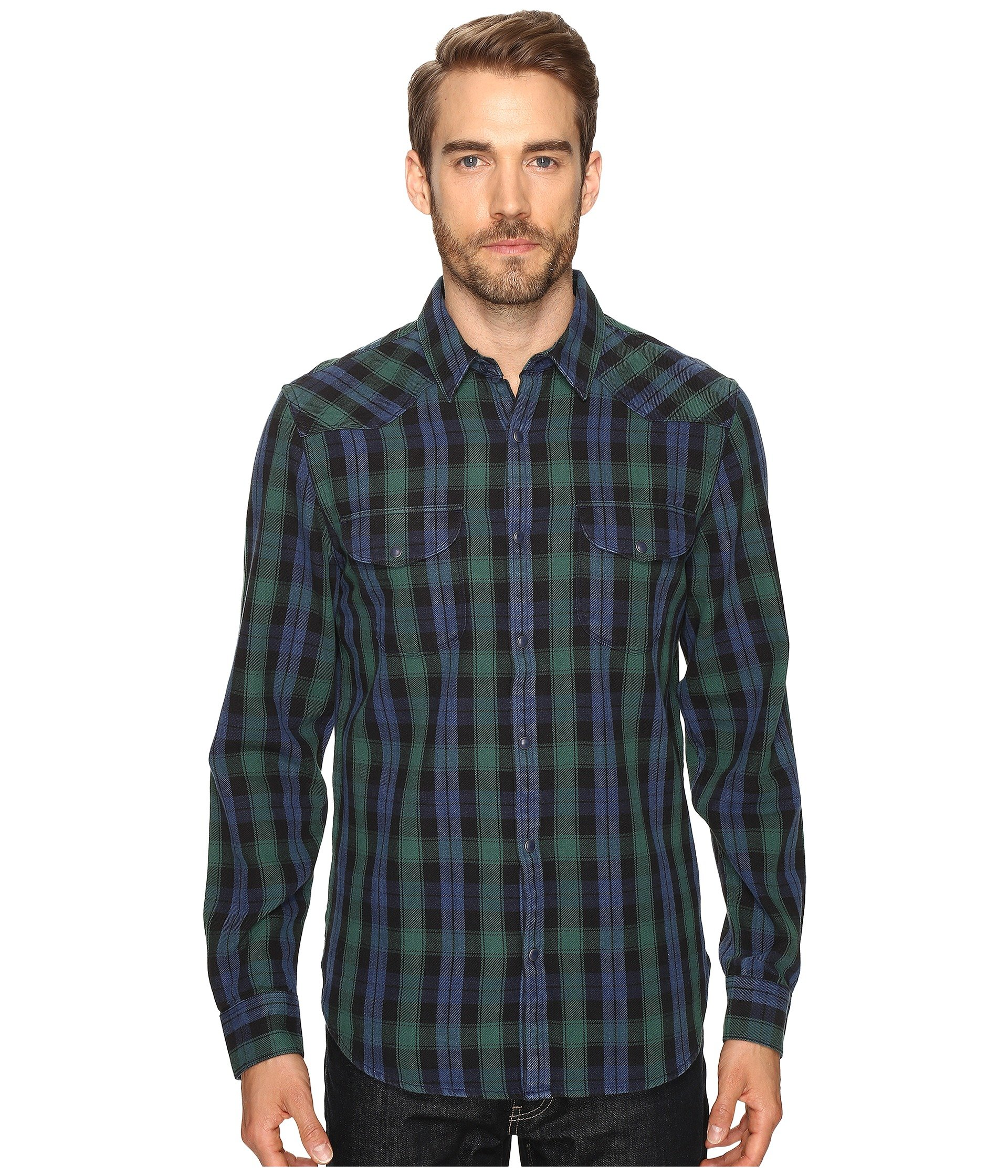 5799242ff3 Lucky Brand Verde Santa Fe Western Shirt In Green Black Blue ...