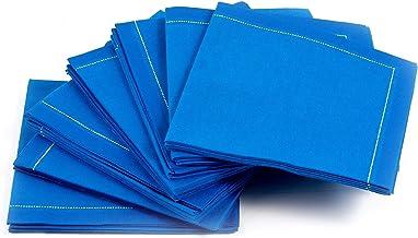 Signature Napkins 1/4 折叠可重复使用奢华棉质鸡尾酒餐巾 皇家蓝 30-Pack FC20-401/PW140