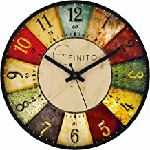 Efinito 14 inch Classic Roulette Wall Clock for Home/Living Room/Bedroom/Kitchen/Office/Kids Room - Silent Movement, Black Frame
