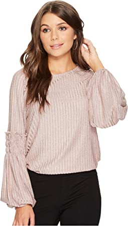 1.STATE Long Sleeve Smocked Rib Knit