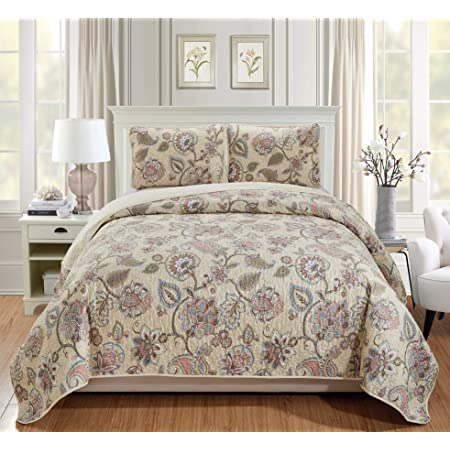 Better Home Style 3 Piece Beige Taupe Pink Green Blue Luxury Lush Soft Floral Flowers Paisley Printed Design Quilt Coverlet Bedspread Oversized Bed Cover Set # Hilton (Full/Queen)
