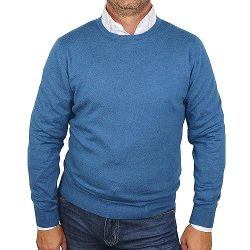 faa1097fe5327 1stAmerican Pullover Soie et Cachemire col Ras du Cou pour Homme - Tricot  d hiver