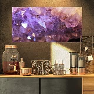 Designart Purple White Natural Amethyst Geode Canvas Artwork, 32x16