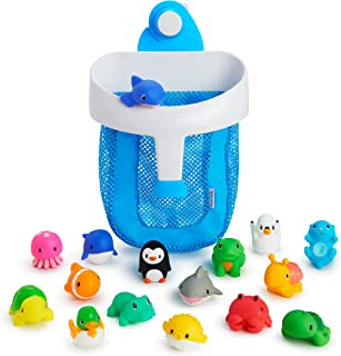 Munchkin Super Scoop Bath Toy Organizer and 16 Piece Bath Squirt Value Set, Value Set, Blue