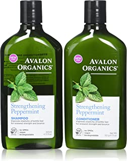 Avalon Organics Strengthening Peppermint Shampoo and Conditioner Set, 11 Ounce Each