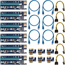 PCIe Riser Mining Card,VER009S PCIe 16x to 1x Riser Adapter, USB 3.0 Extension Cable 60cm, 6 pin PCI-E to SATA Power Cable, GPU Riser Adapter LED Indicator - Ethereum Bitcoin Mining